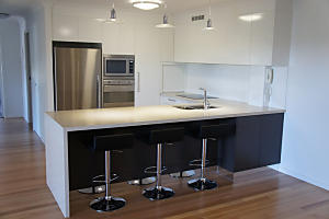 Brisbane Kitchens-Stone Waterfall End